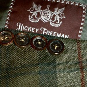42R Hickey Freeman Green Red Madras TWEED BLAZER